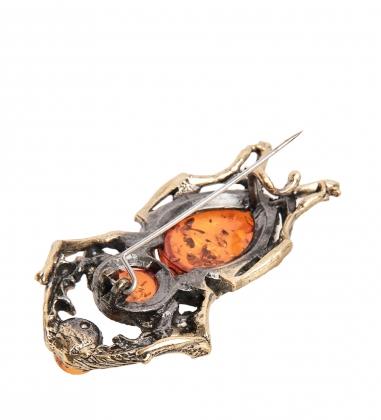 AM-1839 Брошь  Жук-олень   латунь, янтарь