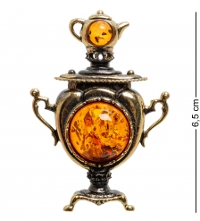 AM-1841 Магнит  Самовар   латунь, янтарь