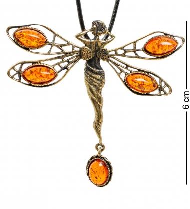 AM-1853 Подвеска  Стрекоза-Фея   латунь, янтарь