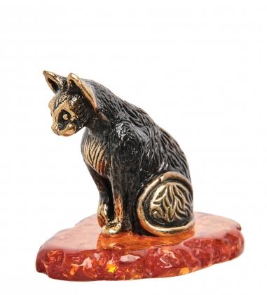 AM-1856 Фигурка  Кот Тишка   латунь, янтарь