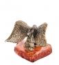 AM-1867 Фигурка «Орел со змеёй»  латунь, янтарь