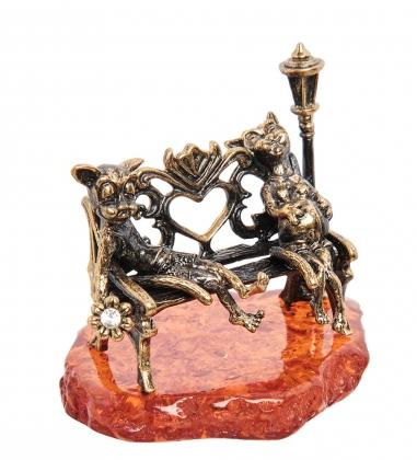 AM-1870 Фигурка  Коты В ожидании чуда   латунь, янтарь