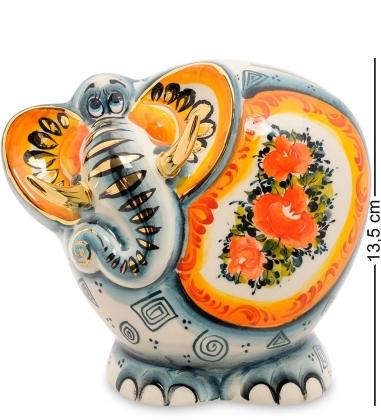ГЛ-447 Копилка  Слон  золото цв.  Гжельский фарфор