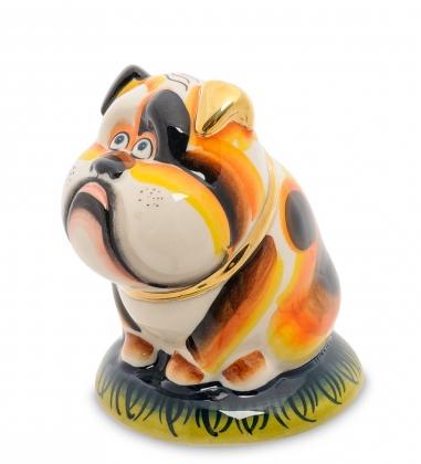Первая фотография ГЛ-448 Копилка  Собака Тузик  золото  Гжельский фарфор