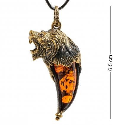 AM-1877 Подвеска  Клык Льва   латунь, янтарь