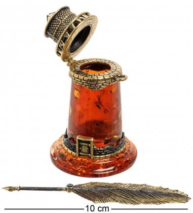 AM-1881 Фигурка  Чернильница Маяк   латунь, янтарь