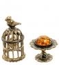 AM-1883 Фигурка  Птички в клетке   латунь, янтарь