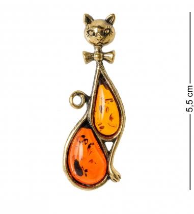 AM-1889 Подвеска  Кошка Нэли   латунь, янтарь