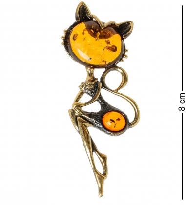 AM-1890 Подвеска  Кошечка игривая   латунь, янтарь