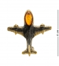AM-1897 Брошь  Самолет Палм   латунь, янтарь