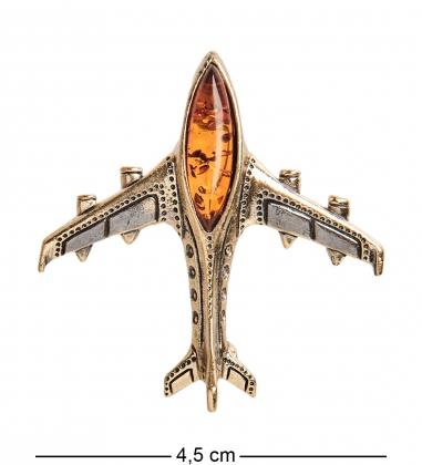 AM-1898 Брошь  Самолет Трэвел   латунь, янтарь