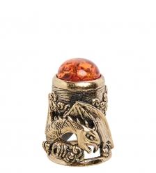AM-1901 Наперсток «Наперсток Дракон»  латунь, янтарь
