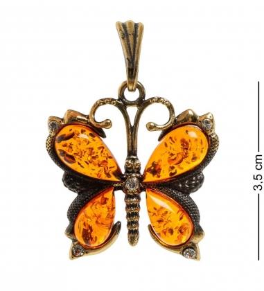 AM-1931 Подвеска  Бабочка со стразами   латунь, янтарь