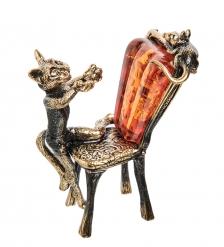 AM-1935 Фигурка «Кот ловит мышку»  латунь, янтарь