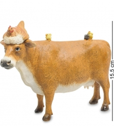 ED-377 Фигурка  Корова с курицей и цыплятами