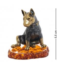 AM-1952 Фигурка «Собака Бультерьер»  латунь, янтарь