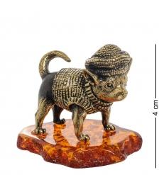 AM-1953 Фигурка «Собака Горошек»  латунь, янтарь