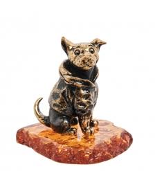 AM-1955 Фигурка «Собака Шарик»  латунь, янтарь