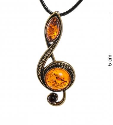 AM-1957 Подвеска  Скрипичный ключ   латунь, янтарь