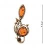 AM-1958 Брошь  Скрипичный ключ с нотами   латунь, янтарь