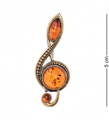 AM-1959 Брошь  Скрипичный ключ   латунь, янтарь