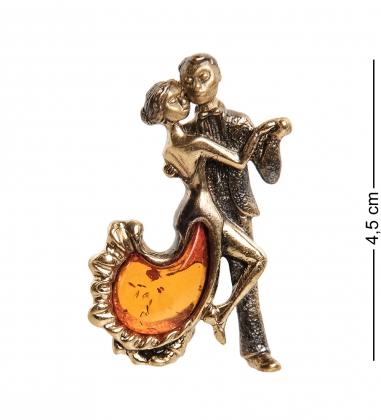 AM-1964 Брошь  Парочка   латунь, янтарь