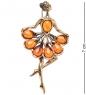 AM-1965 Фигурка-брошь  Балерина в пачке   латунь, янтарь