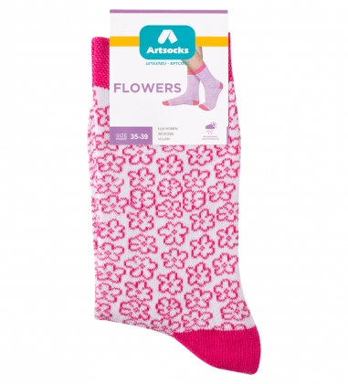 Носки женские Flowers ASW-0001  35-39 бел/роз  Artsocks