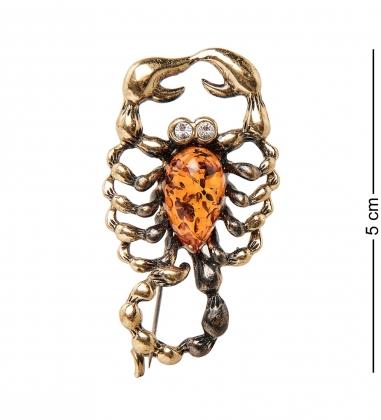 AM-1966 Брошь Скорпион  латунь, янтарь