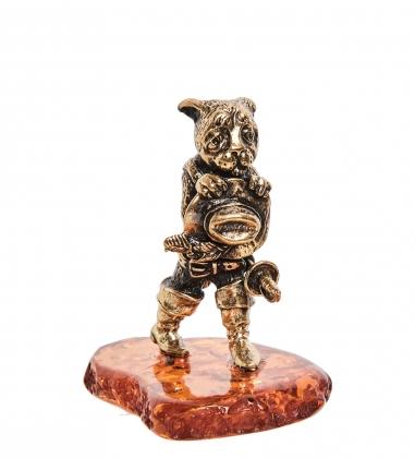 AM-1974 Фигурка Кот в сапогах  латунь, янтарь