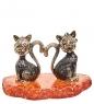 AM-1975 Фигурка  Мартовские коты   латунь, янтарь
