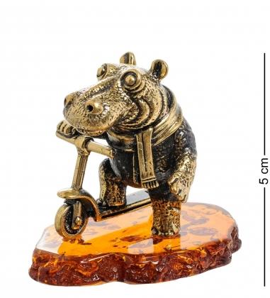 AM-1981 Фигурка Бегемот на самокате  латунь, янтарь