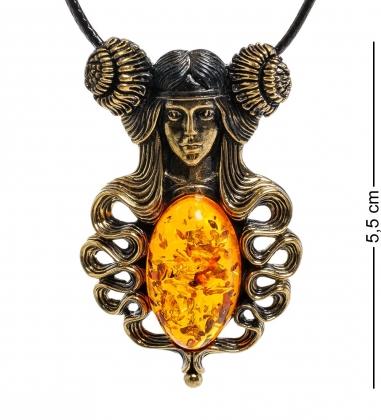 AM-1988 Подвеска  Девушка с пионами   латунь, янтарь