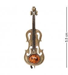 AM-1992 Брошь «Скрипка Вивальди»  латунь, янтарь