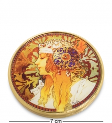 pr-M22MU Зеркальце  Византийские головы: Блондинка  Альфонс Муха  Museum.Parastone
