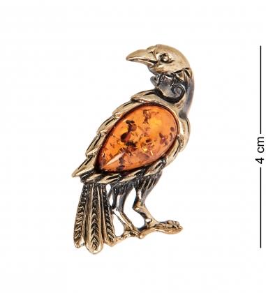 AM-1996 Брошь  Ворона   латунь, янтарь