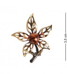 AM-1998 Брошь «Лилия»  латунь, янтарь