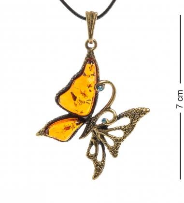 AM-1999 Подвеска  Бабочка ажурная   латунь, янтарь