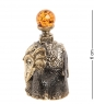 AM-2016 Фигурка  Колокольчик-Слон индийский   латунь, янтарь