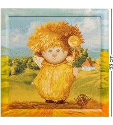 ANG-267 Гобелен в расписной раме  Ангел крепкого здоровья  45х45