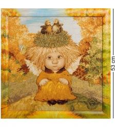 ANG-269 Гобелен в расписной раме  Ангел семейного счастья  45х45