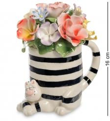 CMS-61/ 2 Статуэтка «Полосатый Кот с вазой цветов»  Pavone