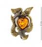 AM-2029 Брошь  Голуби с сердцем   латунь, янтарь
