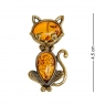 AM-2031 Брошь  Кот Чеширский   латунь, янтарь