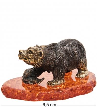 AM-2050 Фигурка Медведь на рыбалке  латунь, янтарь