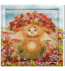 ANG-356 Гобелен в расписной раме  Солнечный ангел  45х45