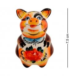 ГЛ-462 Магнит «Свинка»  цв.  Гжельский фарфор