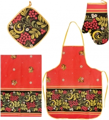 ТК-248 Набор 4 пр.  Фартук, рукавица, прихватка, полотенце   лен, чёрно красный