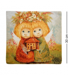 ANG-394 Наволочка гобеленовая «Ангелы хранители дома» 30х30