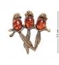AM-2105 Брошь  Попугайчики   латунь, янтарь
